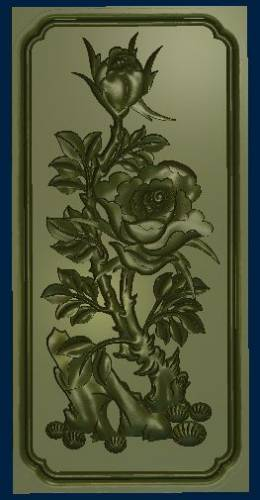 Free relief Rose in frame