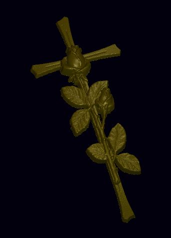 Cross With Rose relief