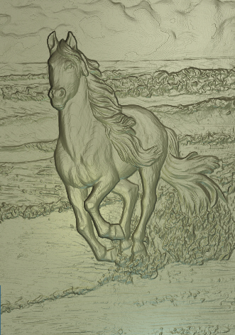 Free relief, Horse